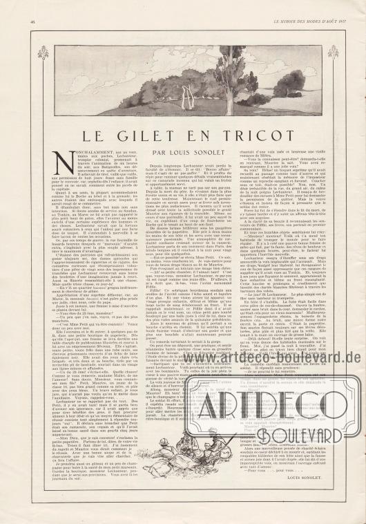 Artikel: Sonolet, Louis (1872-1928), Le Gilet en Tricot (par Louis Sonolet).  Der Artikel zeigt im oberen Bereich eine Landschaft und unten eine kleine Zeichnung von drei französischen Soldaten im Feld. Illustrationen/Zeichnungen: unsigniert/unbekannt.