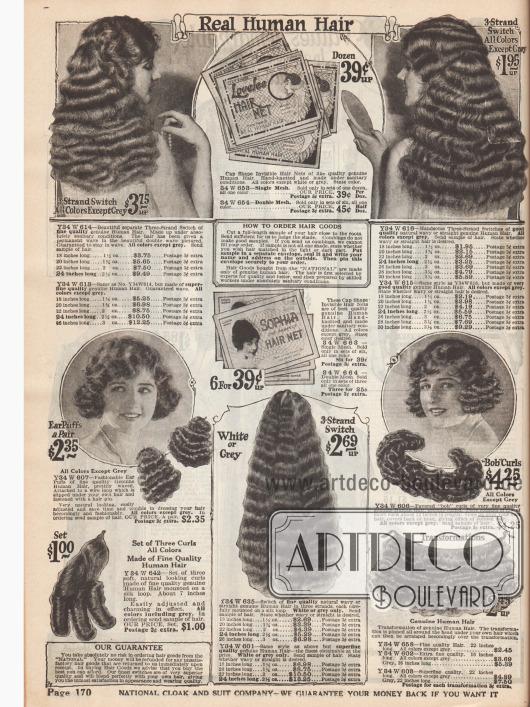 """""""Echtes menschliches Haar""""Dauergewellte Kurz- und Langhaarteile zur Verschönerung der eigenen Frisur. Unsichtbare Haarnetze geben der Frisur den nötigen Sitz."""