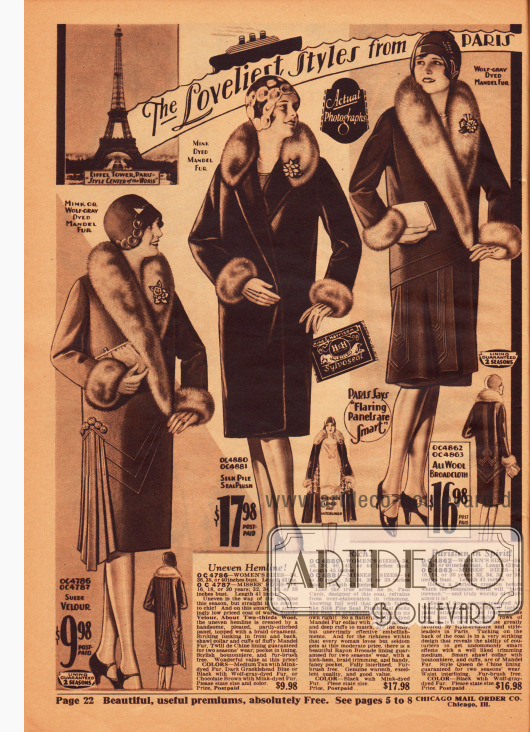 """""""The Loveliest Styles from Paris for the Fashionable Women of America!"""" (dt. """"Die lieblichsten Mode aus Paris für die eleganten Frauen Amerikas!""""). Die gezeigten Wintermäntel sind aus Woll-Veloursleder, pelzartigem Seiden-Plüsch und Woll-Breitgewebe. """"Mandel fur"""" (eingefärbte chinesische Schafswolle) dient als Pelzbesatz."""
