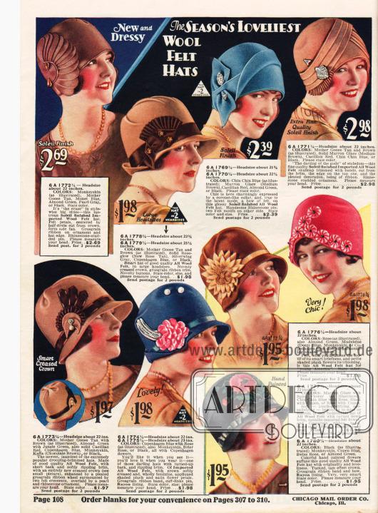 Seite mit kolorierten Fotografien aktueller Filzhüte mit extravagantem Aufputz und Verziehrungen. Hüte mit umgeschlagenen Krempen oder auch ohne Krempe sind hier im Angebot.