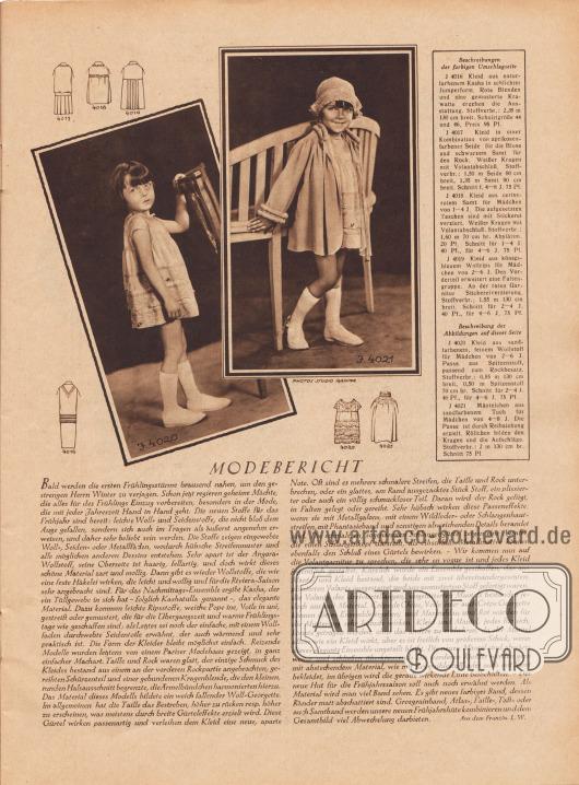 Artikel: W., L., Modebericht (aus dem Französischen).  4020: Kleid aus sandfarbenem, feinem Wollstoff für Mädchen von 2 bis 6 Jahre. Passe aus Spitzenstoff, passend zum Rockbesatz. Schnitt für 2 bis 4 bzw. 4 bis 6 Jahre. 4021: Mäntelchen aus sandfarbenem Tuch für Mädchen von 4 bis 8 Jahre. Die Passe ist durch Reihziehung erzielt. Röllchen bilden den Kragen und die Aufschläge. Fotos: Studio Rahma, Paris.