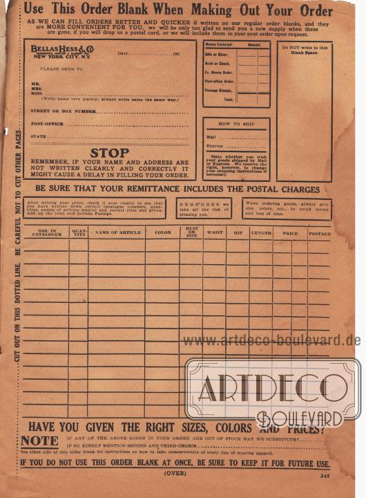 """""""Verwenden Sie dieses Bestellformular beim Ausfüllen Ihrer Bestellung"""" (engl. """"Use This Order Blank When Making Out Your Order""""). Bestellschein bzw. Bestellformular auf der die aktuelle Kundenadresse, die Artikel mit Artikelnummer, gewünschte Farben, Maßangaben und alle sonstigen wichtigen Angaben zu den Artikeln sowie Preis, Porto und Zahlbetrag addiert und angegeben werden mussten."""