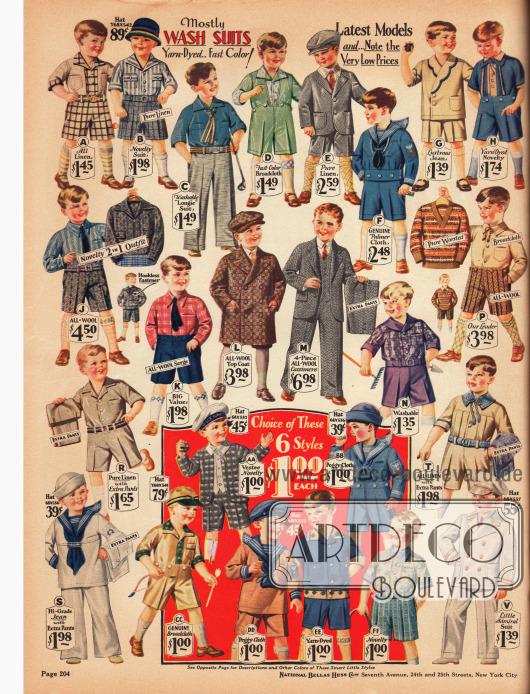 Spielkleidung, waschbare Anzüge, Schulanzüge und Tageskleidung für 3 bis 8-jährige Jungen. Die Anzüge sind aus Leinengeweben, Breitgewebe, Jeans und Baumwollstoffen, reinen Wollstoffen, Woll-Serge und Woll-Kaschmir. Neben einem Mantel und einem Anzug mit langen Hosenbeinen, finden sich auf dieser Seite viele Matrosen-Spielanzüge und selbst ein weißer Admiralsanzug (unten rechts).