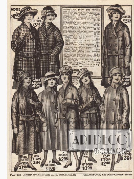 """Hauben und Regenmäntel für Mädchen bis 14 Jahre aus gummierten Stoffen mit großen Gürtelbändern und aufgenähten Taschen (unten) und sog. """"Mackinaw Coats"""" mit Schal-Kragen, fest angenähten Gürteln und Taschen (oben). Mackinaw Mäntel oder auch Jacken sind meist doppelreihig und aus schwerem Wollstoff gemacht."""