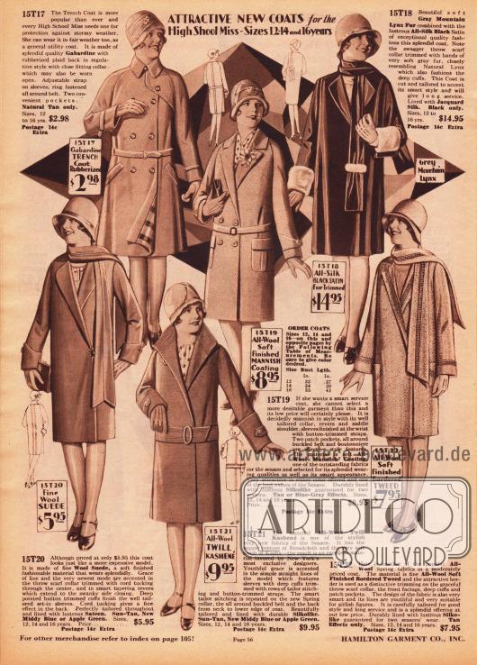 Sechs Mäntel für 12 bis 16-jährige Mädchen im High School Alter. Die Mäntel sind aus weichem Wollgewebe, Seiden-Satin, Woll-Veloursleder, Woll-Kasha und Woll-Tweed. Die Ärmelaufschläge und der Mantelschal rechts oben sind mit Bergluchsfell besetzt. Einzelne Mäntel sind mit Biesen verziert und drei Mäntel werden mit Gürtel getragen. Schals aus dem gleichen Mantelmaterial sind 1929 offenbar sehr beliebt. Oben links wird zudem ein Trenchcoat Regenmantel aus gummiertem Gabardine offeriert.