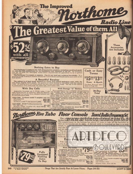 """""""Die verbesserte Northome Radio-Produktlinie"""" (engl. """"The Improved Northome Radio Line""""). Oben befindet sich ein Radioempfangsgerät mit abgeschrägtem Frontpaneel für 52,50 Dollar (Barzahlungspreis) inklusive Zubehör bzw. 59,60 Dollar bei Ratenzahlung (siehe Seite 441). Mit passender wiederaufladbarer, großer Batterie statt Trockenbatterien ist das Gerät fast zehn Dollar teurer – gerade viele ländliche Haushalte waren oft noch ohne Stromanschluss. Als Zubehör werden bei der teureren Version ein Lautsprechertrichter, fünf Elektronenröhren (CT201A), eine 100 Ampere Batterie, zwei große 45 Volt """"B"""" Batterien, ein 2000 Ohm Kopfhörer mit Anschluss, eine Standardantenne und ein Handbuch mitgeliefert. Das Radio konnte 30 Tage auf Probe gekauft werden. Unten wird ein Konsolenradio mit fünf Elektronenröhren in zwei Versionen für 79,95 bzw. 85,95 Dollar (Barzahlungspreise) angeboten. Bei Ratenkauf ist das Radio etwa zehn Dollar teurer. Der dekorative Radioschrank ist aus massivem amerikanischem Walnussbaumholz gefertigt und steht auf gedrechselten Füßen."""