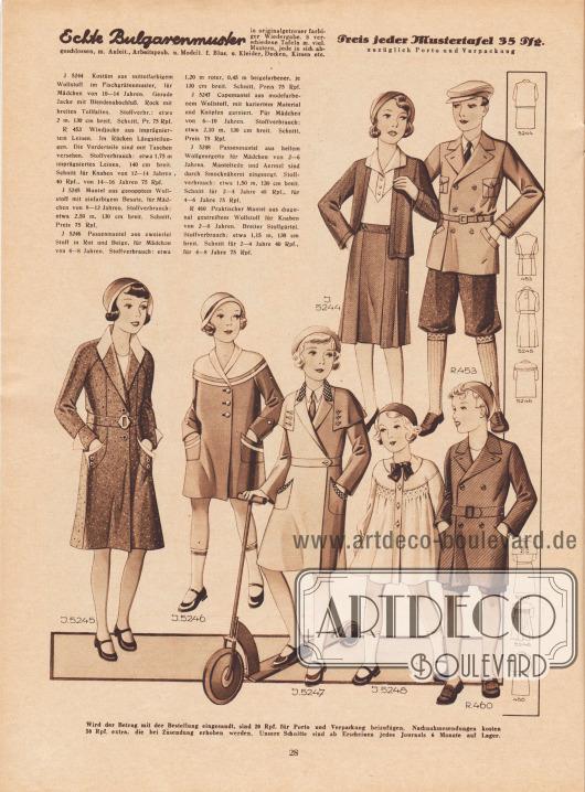 5244: Kostüm aus mittelfarbigem Wollstoff im Fischgrätenmuster, für Mädchen von 10 bis 14 Jahren. Gerade Jacke mit Blendenabschluß. Rock mit breiten Tollfalten. R 453: Windjacke aus imprägniertem Leinen. Im Rücken Längsteilungen. Die Vorderteile sind mit Taschen versehen. Schnitt für Knaben von 12 bis 14 und 14 bis 16 Jahren. 5245: Mantel aus genopptem Wollstoff mit einfarbigem Besatz, für Mädchen von 8 bis 12 Jahren. 5246: Passenmantel aus zweierlei Stoff in Rot und Beige, für Mädchen von 4 bis 8 Jahren. 5247: Capemantel aus modefarbenem Wollstoff, mit kariertem Material und Knöpfen garniert. Für Mädchen von 6 bis 10 Jahren. 5248: Passenmantel aus hellem Wollgeorgette für Mädchen von 2 bis 6 Jahren. Mantelteile und Ärmel sind durch Smocknäherei eingeengt. Schnitt für 2 bis 4 und 4 bis 6 Jahre. R 460: Praktischer Mantel aus diagonal gestreiftem Wollstoff für Knaben von 2 bis 8 Jahren. Breiter Stoffgürtel. Schnitt für 2 bis 4 und 4 bis 8 Jahre.