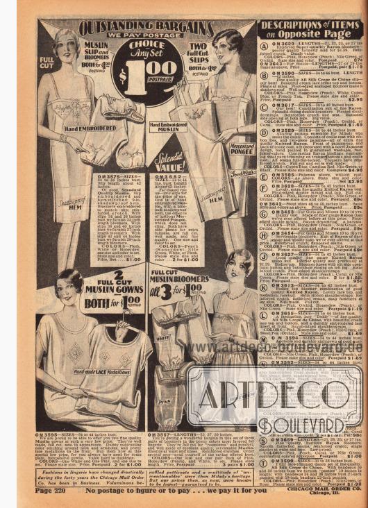Seite mit günstigen Angeboten für Unterwäschegarnituren für Frauen. Im Angebot für einen Dollar sind ein Unterhemd mit Pumphöschen aus Musselin (oben links), zwei Unterhemden aus merzerisierter Seide (oben rechts), zwei Nachthemden aus Musselin (unten links) oder drei Pumphöschen ebenfalls aus Musselin. Auf der rechten sind die Erläuterungen der Modelle auf der nächsten Seite.