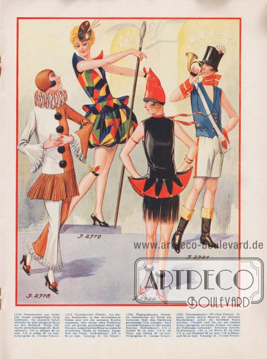 """Kostüme für Silvester 1926/27 und für Fasching 1927.Zuerst ein Pierrotkostüm aus weißer und dunkeloranger Seide mit Plisseeschoß und Tüllrüsche am Kragen. Weiße Rüschen schließen zudem Ärmel und Hosenbeine ab.Das Maskenkostüm """"Palette"""" besteht aus vielen kleinen Seidenresten. Über die sehr weit ausladene Pluderhose legt sich ein glockig geschnittener Schoß. Als Kopfputz dient eine Farbpalette.Das dritte Kostüm besteht aus einem schwarzen Atlasleibchen mit einem Schoß aus hochrotem Stoff, dem blattförmig geschnittene Teile aufliegen. Dazu wird ein kurzes schwarzes Höschen getragen über das sich ein schwarzer Fransenrock legt.Das letzte Kostüm nennt sich """"Postillon d'amour"""" (dt. in etwa """"Liebesbote"""") und besteht aus einer weißen kurzen Hose mit einem blauen Jäckchen. Die auf der nackten Haut getragenen Ärmelstulpen passen farblich zum Stehkragen. Dazu wir ein schwarzer Zylinder getragen."""