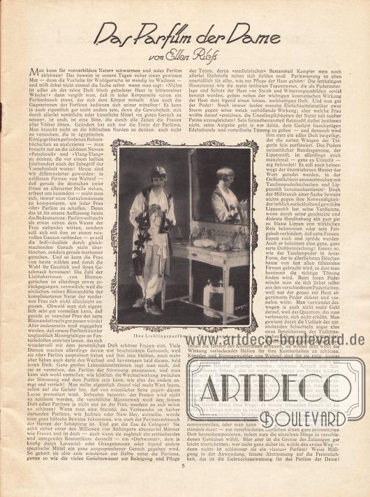 Artikel: Rieß, Ellen, Das Parfüm der Dame. Foto: Sandau.