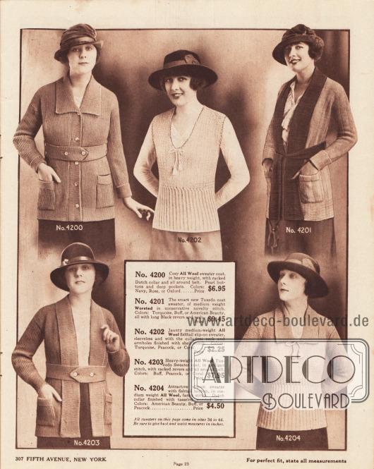 """Strickjacken (Cardigans), zwei Jacken mit langem, umgeschlagenen Schalkragen (""""Tuxedo Sweaters"""", 4201, 4203) sowie zwei Strickpullover aus Wolle und Kammwolle für Frauen. Modell 4200 besitzt zwei aufgesetzte Taschen. Ärmellos, mit tiefem Ausschnitt und geriffeltem Schoß ist der Pullover 4202 – ähnlich dem Modell 4204. Zweifarbiges Material wurde für die Strickjacke 4201 verwendet, das zudem mit Quasten aufwartet."""