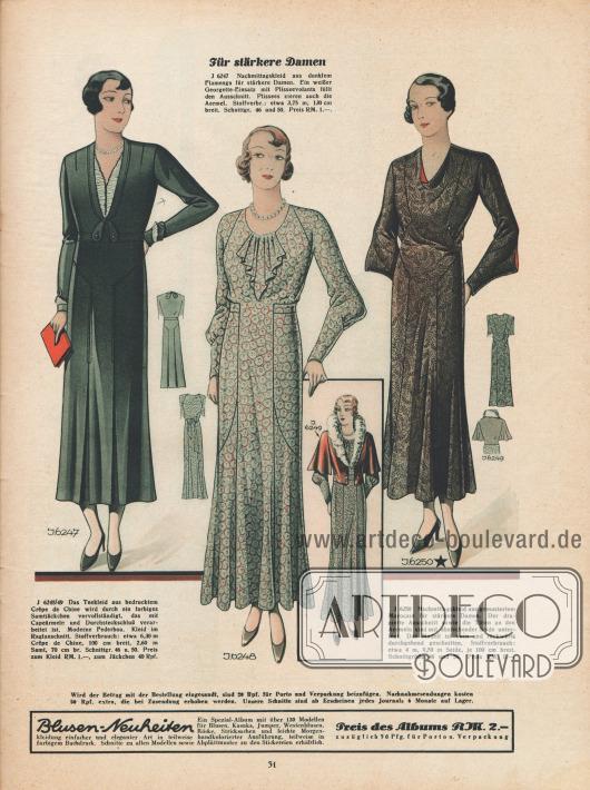 Teekleid aus Crêpe de Chine und zwei Nachmittagskleider aus Flamenga und Marocain für stärker gebaute Damen.