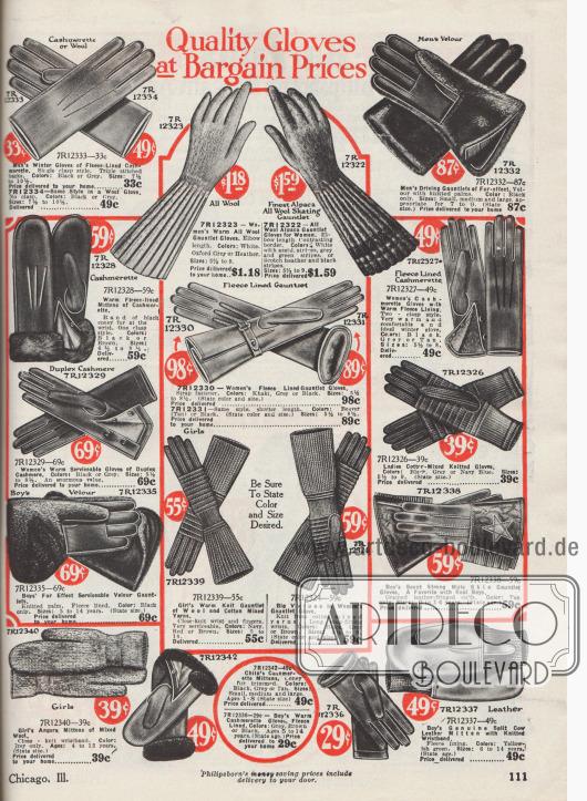 """""""Qualitäts-Handschuhe zu Schnäppchenpreisen"""" (engl. """"Quality Gloves at Bargain Prices""""). Handschuhe und Strickhandschuhe für Arbeit, Straße, Sport oder auch feine Anlässe für die ganze Familie. Die Handschuhe sind aus Leder, Velours oder vor allem aus Wolle und Kaschmirwolle. Bei einzelnen Handschuhen sind die Handgelenke mit Kaninchenfell oder mit Webpelz verbrämt. Unten rechts befindet sich ein Handschuh-Paar aus Maultier- bzw. Eselleder für Jungen für 59 Cent, das mit einem Stern bestickt ist. Oben rechts ist zudem ein Paar Autohandschuhe für Männer für 87 Cent."""
