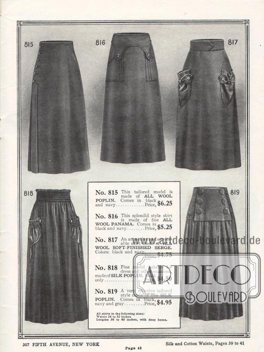 Fünf Röcke aus Woll-Popeline, Woll-Panama, Woll-Serge und Seiden-Popeline. Die Taschen bei den Modellen 817 und 818 sind beutelartig gearbeitet und mit Zierknöpfen versehen. Modell 818 zeigt zudem mehrere Reihenziehungen im Gürtelbereich und an den Taschenöffnungen. Die Taschen sind mit Quasten versehen. Modell 819 präsentiert ein großes Stoffstück, das dem Rock aufgenäht wurde und mit sechs großen Knöpfen versehen ist.