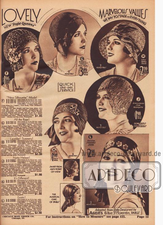 """""""Schöne neue 'Style Queens'. Wunderbare Werte. Wir zahlen das Porto – schneller Ein-Tages-Service"""" (engl. """"Lovely New 'Style Queens'. Marvelous Values. We Pay Postage on Everything – Quick One-Day Service""""). Haubenartige, enganliegende Kappen mit auf die Hutkrone gebogener Krempe (F, G, K) oder ohne Krempe (Toque, J), eine Glocke (H) oder eine exotische, turbanartige Kopfbedeckung im algerischen Stil (L) der Pariser Modistin Madame Agnès. Die Damenhüte sind aus seidig glänzendem Visca-Stroh, Bangkok-Toyo-Stroh, spitzenartigem Hanfgewebe, Seiden-Georgette oder Skinners Krepp-Satin. Die Modelle sind mit künstlichen Gardenien, Ripsbändern, Hutnadeln, kleinen Glasknöpfen, opulenter Seidengarn-Stickerei, Schleifen aus Bengaline oder Shiffli-bestickter Spitze verziert."""