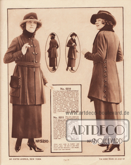 """5210: Kostüm der gehobenen mittleren Preiskategorie aus Woll-Velours für Damen und junge Frauen. Die enge Kragenmanschette und die Taschenklappen sind mit Seehund- bzw. Robbenpelz verbrämt (hier engl. """"French Seal Plush""""). Kostümjacke mit plissierter Front, eingearbeiteter Weste, Knöpfen und blinden Knopflöchern. Die Jacke ist bis zur Taille mit geblümter Seide gefüttert. 5211: Elegantes Winterkostüm aus Woll-Velours für Damen und Frauen mit kleinen Konfektionsgrößen. Der Schalkragen ist mit luxuriösem Seehund- bzw. Robbenpelz verbrämt. Die ungleichmäßig lang geschnittene Kostümjacke läuft vorne und hinten punktuell zu. Der hintere Jackenschoß ist mit einer Kellerfalte versehen. Zu beiden Seiten befinden sich von Paspeln umrahmte Knopfleisten. Vorne seitlich eingelassene Schlitztaschen."""