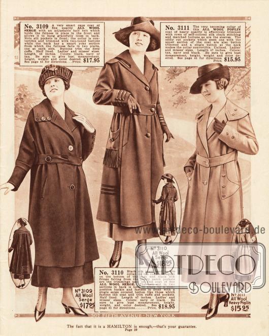 Damenmäntel für das Frühjahr aus Woll-Serge und Woll-Popeline. Überbreite Kragen, Knöpfe, Gürtel und Taschen sind, wie der leicht kürzere Schnitt im Vergleich zu den Kleidern, typisch für die Mantelmode des Frühjahrs 1919.