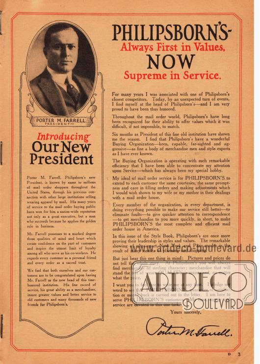 Brief der Geschäftleitung mit dem Konterfei des neuen Präsidenten des Versandhauses Philipsborn's Porter M. Farrell.