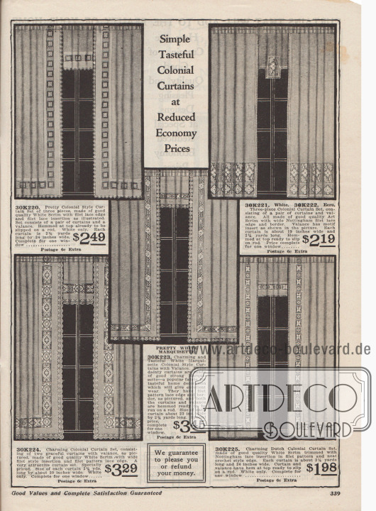 """""""Einfache geschmackvolle Kolonial-Vorhänge zu reduzierten Sparpreisen"""" (engl. """"Simple Tasteful Colonial Curtains at Reduced Economy Prices""""). Fertigvorhänge zu Preisen von 1,98 bis 3,45 Dollar. Vorhänge im amerikanischen oder niederländischen Kolonial-Stil aus weißem Marquisette, Mull- oder Gitterstoff mit Einsätzen aus Filet-Spitze, Nottingham Spitze, Einfassungen und Spitzenkanten. Ein Vorhang-Set besteht jeweils aus einem Paar Vorhänge und einem Fenstervolant. Oben fertig abgenäht zum direkten Aufziehen über die Gardinenstange."""