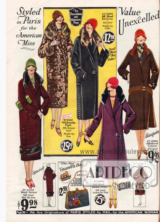Große Mode ist das Schließen des Mantels an einem großen Zierknopf. Auch große Ziernähte, Stickereien und rund umlaufende Pelzpanele geben Abwechslung.