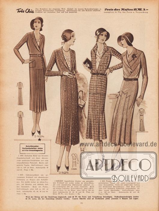 5974: Einfaches Kleid aus braunem Diagonalwollstoff mit breit übereinander greifenden Vorderteilen und vorn eingearbeitetem Faltenteil. Rechts aufgesetzte Tasche. 5975: Übergangskleid aus gemustertem Wollstoff mit abstechender Einfassung an Kragen und Aufschlägen. Ein weißer Crêpe de Chine-Einsatz mit Knöpfen und Schleife füllt den Ausschnitt. Rock mit Falten. 5976/5977: Jugendliches Kostüm aus gemustertem Wollstoff mit weißer Crêpe de Chine-Bluse, die vorn doppelreihig übereinander geknöpft ist. Ein Ledergürtel hält die Jacke zusammen. Rock mit breiten Tollfalten. 5978: Praktisches Kleid aus hellgrundigem, rot gemustertem Tweed mit rotem Ledergürtel und roter Ansteckblüte. Taille mit effektvoller Teilung und kleidsamem Reverskragen. Dem Rock sind vorn und rückwärts Faltenteile eingearbeitet, die oben zackig abschließen.
