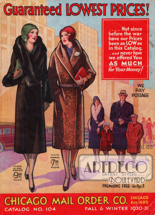 Cover des Herbst/Winter Versandhauskatalogs der Firma Chicago Mail Order Co. von 1930.