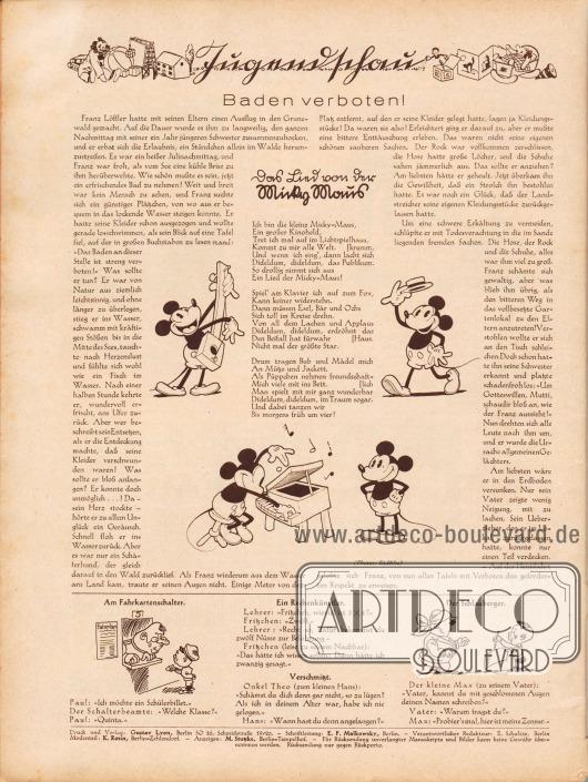 """Artikel (Jugendschau): O. V., Baden verboten!; O. V., Das Lied von der Micky Maus. Mit ein Paar Bildern der Micky Maus (engl. Mickey Mouse). Fotos: Südfilm. Im unteren Bildbereich befinden sich die teilweise illustrierten Witze """"Am Fahrkartenschalter"""", """"Ein Rechenkünstler"""", """"Verschmitzt"""" sowie """"Der Schlauberger"""". Impressum der Illustrierten Modenschau."""