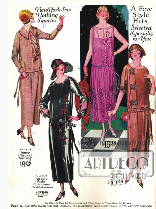 """Elegante Kleider aus Seide für """"halb formale"""" Anlässe. Das ärmellose Abendkleid aus rosa Seiden-Georgette-Krepp ist aufwendig bestickt."""