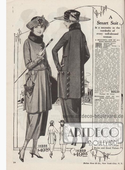 """""""Ein schickes Kostüm ist eine Notwendigkeit in der Garderobe jeder gut gekleideten Frau"""" (engl. """"A Smart Suit is a necessity in the wardrobe of every well-dressed woman"""").  1K855 / 1K856 / 1K857: Elegantes Straßenkostüm im schlanken Schnitt aus schimmerndem Woll-Breitgewebe, bestellbar in Herbstbraun, Purpur oder tiefdunklem Newport Grün, für 49,50 Dollar. Der Kragen aus """"Sealine Fur"""" (auf Robbe geschorenes und gefärbtes, australisches Kaninchen) kann zugeknöpft oder offen getragen werden. Ab der Taille eine große abgenähte, invertierte Falte sowie zwei Kellerfalten auf der Rückseite der Kostümjacke. Abstehende Taschen mit Astrachan-Stickerei aus Seide. Zusammengeknöpfte, spitze Blenden über den Taschen. Jackenfutter aus gemusterter Seide. 1K859: Hübsches Schneiderkostüm aus marineblauem Woll-Trocotine zum Preis von 49,95 Dollar. Konvertierbarer Kragen abgefüttert mit """"Sealine Fur"""". Rücken mit abgestepptem Paneel-Effekt, der sich bis nach vorne zieht. Im unteren Teil des Rückens lackierte Knöpfe. Taschen mit analoger Knopfgarnitur. Bunt gemustertes Seidenfutter. Glatt geschneiderter Kostümrock."""