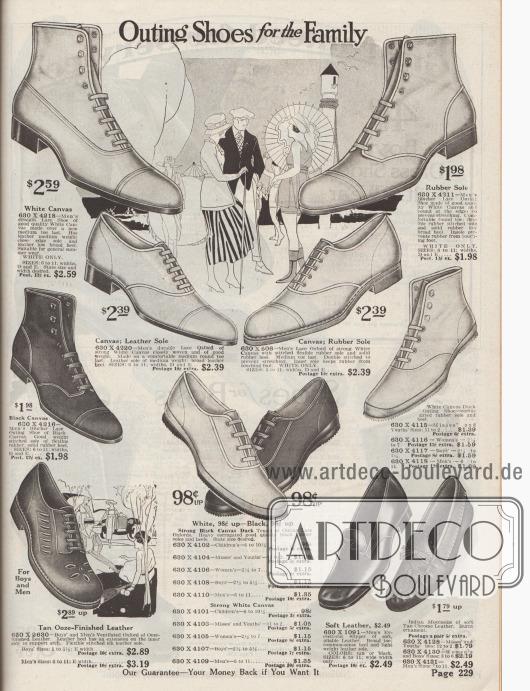 """""""Ausflugsschuhe für die Familie"""" (engl. """"Outing Shoes for the Family""""). Herrenschuhe (oben), Schuhe für Jungen und Mädchen, junge Frauen und Damen für Strand, Freizeit, sommerliche Landausflüge oder Sport. Die Schuhe sind aus schwarzem oder überwiegend weißem Kanevas und mit Gummisohlen hergestellt. Unten befinden sich ornamental perforierte Lederschuhe für Jungen, Tennisschuhe für die ganze Familie, Hausschuhe aus weichem Leder für Männer sowie weiche Mokassins für Frauen und Männer."""