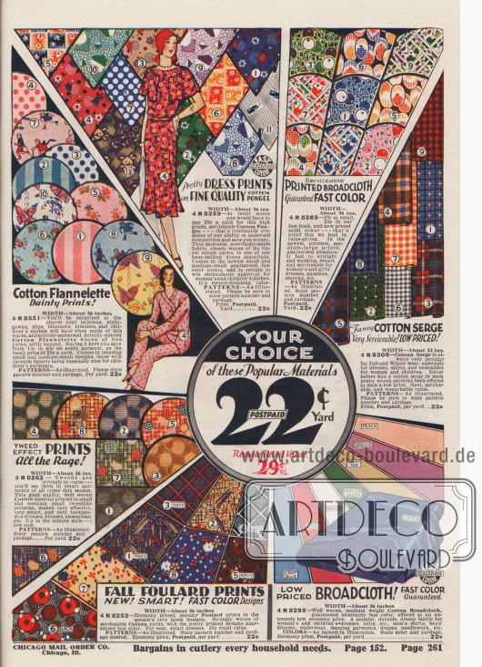 Bedruckte Kleiderstoffe (Foulard, Baumwoll-Flanell, Baumwoll-Serge, Pongee und Breitgewebe) zum Preis von 22¢ pro Yard.