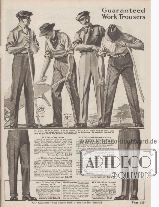 """""""Arbeitshosen mit Garantie"""" (engl. """"Guaranteed Work Trousers""""). Hochwertige Arbeitshosen in schweren Stoffqualitäten wie Jeansstoff (Baumwolle), """"Moleskin Cloth"""" (Englischleder), gestreiftem Cord- bzw. Kordgewebe, derbem Kordstoff, """"Cottonade"""" (Baumwollgewebe) oder """"Cotton Napped Suiting"""" (Baumwollstoff mit kraus-wolliger Oberfläche). Die Hosen können wahlweise mit oder ohne Hosenaufschlägen bestellt werden. Alle Modelle mit seitlichen Taschen."""