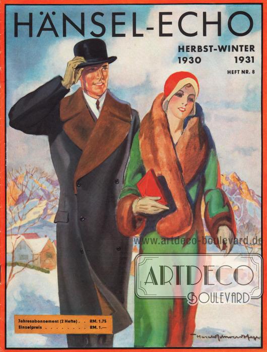 Titelseite der Herbst/Winter Ausgabe des Firmenmagazins Hänsel-Echo Nr. 8 von 1930.Zeichnung: Harald Schwerdtfeger.