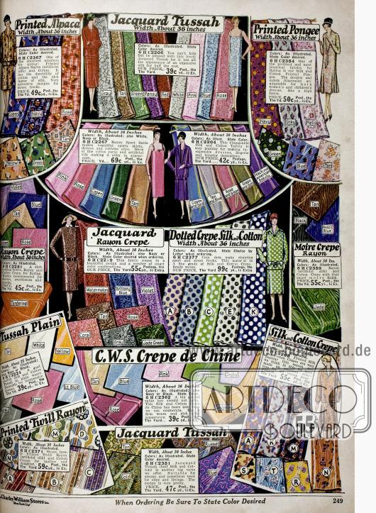 Bundbedruckte Kleiderstoffe wie ein Alpaka-Rayon-Baumwollmischstoff, Jacquard, Pongee (Seide), Rayon Krepp sowie Baumwoll- und Seiden Krepp.