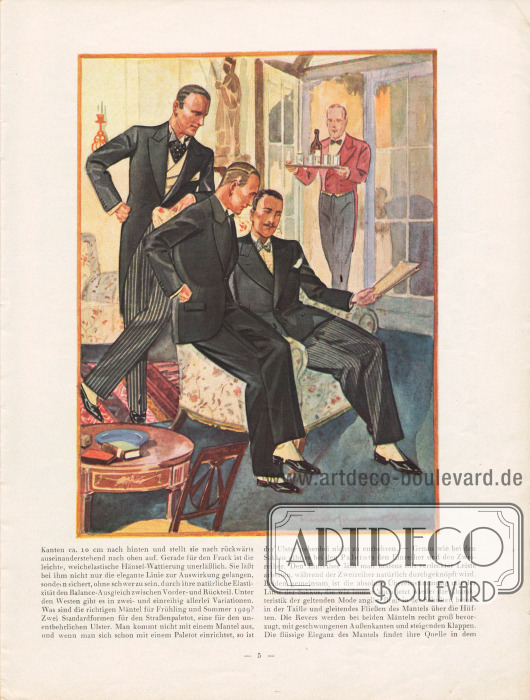 """Artikel: Henschke, Bruno, Die neue Mode für Frühjahr und Sommer 1929. Ein Modebrief. In der Abbildung wird die mondäne Herrenabendmode präsentiert. Links wird ein Cutaway (""""Cut"""") mit gestreifter Hose gezeigt, in der Mitte folgt ein Smoking und rechts ein Stresemann Anzug, der ebenfalls eine gestreifte Hose zeigt. Aufsteigende Revers sind bei allen Modellen obligat. Zeichnung: Harald Schwerdtfeger."""