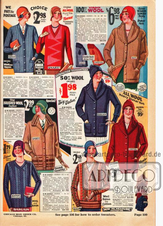 Strickjacken (Cardigans) und Strickpullover für kalte Tage oder sportliche Aktivitäten für Frauen aus Wolle, Rayon, Baumwolle und gekämmter Wolle.