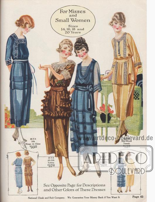 Modische Kleider für junge Frauen von 14 bis 20 Jahren und kleingewachsene Damen. Die Kleider bestehen aus Seiden-Crêpe de Chine, Seiden-Taft, besticktem Georgette und einem Mischstoff zwischen Seide und Tussahseide.