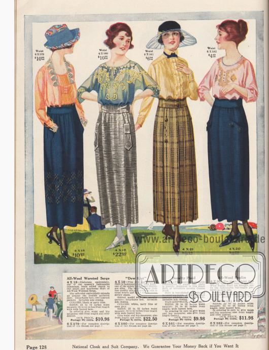 """Aufwendig verarbeitete, geschneiderte Röcke aus Woll-Serge, """"Dew Kist"""" (Seiden-Rayon Mischstoff), Baumwolle und Woll-Poplin. Alle Röcke können mit den abgebildeten Blusen bestellt werden."""