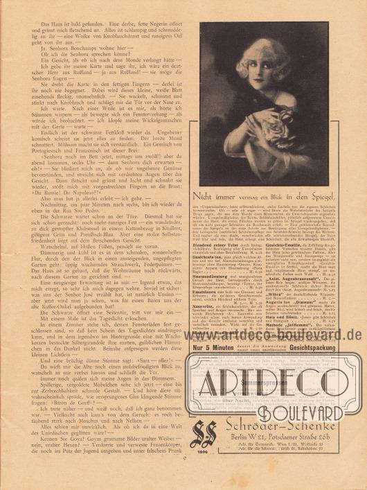 Artikel (Novelle): Rosner, Karl (1873-1951), Das Gespenst der Liebe. Werbung: Schröder-Schenke, Berlin W 21, Potsdamer Straße 26b. Foto: unbekannt.