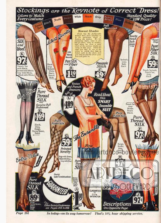 """Brauntöne wie """"Bunny Brown"""" oder """"French Tan"""", eingewebte Motive und aufgedruckte Muster dominieren die Damenstrumpfmode 1925/26."""