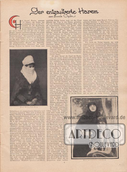 """Artikel: Opitz, Annie, Der entzauberte Harem.  Zum Artikel sind zwei Fotografien abgebildet mit den Bilderläuterungen """"Die Alt-Türkin"""" sowie """"Die moderne Türkin"""". Fotos: unbekannt/unsigniert."""