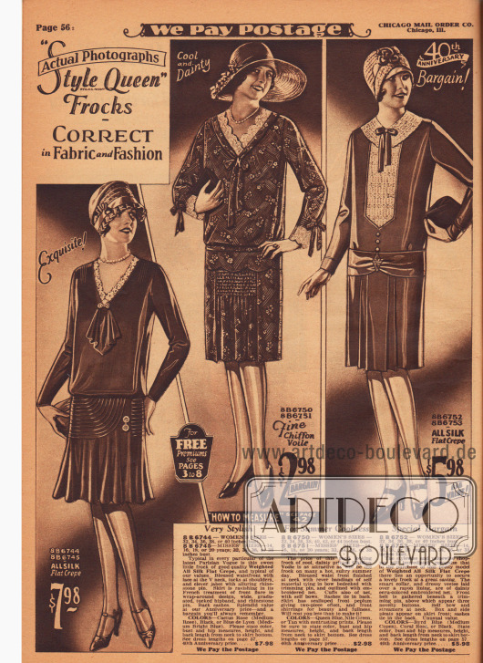 Tageskleider für Damen aus Seiden Krepp und Chiffon-Schleierstoff. Das Oberteil des ersten Kleides ist blusig gearbeitet. Der mit Spitze berandete V-Ausschnitt findet seinen Abschluss in einem Jabot, das oben von einer mit Strasssteinen besetzten Anstecknadel geziert wird. Glockig geschnittener Rock mit mehreren Reihen von Biesen.  Das zweite Kleid zeigt ebenfalls eine Spitzengarnitur an Ausschnitt und Ärmelaufschlägen, die zudem mit Schleifen versehen sind. Falten werfender Rockeinsatz mit Reihenziehung. Écrufarbenes Netzgewebe dient als Kragen und Westeneinsatz beim dritten Kleid. Rockerweiterung durch Kellerfalten.