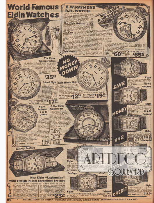 """Doppelseite mit einer großen Auswahl an Taschenuhren und Armbanduhren für Frauen (rechts) und Männer (links). Gerade die Frauenarmbanduhren sind schmaler und filigraner in ihren Details, Gravuren und Ausführungen, die Uhren für Männer sind etwas größer und """"maskuliner"""" in ihrer Erscheinung. Die Bänder sind aus Metall oder Leder. Manche Uhren sind mit kleinen Edelsteinen versehen oder besitzen fluoreszierende Punkte oder Ziffern."""