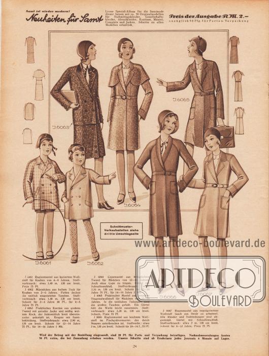 6061: Raglanmantel aus kariertem Wollstoff für Knaben von 4 bis 8 Jahren. 6062: Mäntelchen aus hellem Tuch für Knaben von 2 bis 6 Jahren. Patten decken die seitlich eingesetzten Taschen. Schnitt für 2 bis 4 sowie für 4 bis 6 Jahre. 6063: Praktisches Kostüm aus grobem Tweed mit gerader Jacke und mäßig weitem Rock, der linksseitlich breit übereinander geknöpft ist. Kragen mit Samtbekleidung. Schnitt für 12 bis 14 sowie für 14 bis 16 Jahre. 6064: Capemantel aus bräunlichem Tweed für Mädchen von 12 bis 16 Jahren. Auch ohne Cape zu tragen. Gürtel mit Schnallenschluß. Schnitt für 12 bis 14 sowie für 14 bis 16 Jahre. 6065: Praktischer Mantel aus braunem Diagonalwollstoff für Mädchen von 10 bis 14 Jahren. In die seitlichen Teilungen sind die großen Taschen eingefaßt. Ein Gürtel hält die Weite leicht zusammen. 6066: Raglanmantel aus leichtem Wollstoff im Fischgrätenmuster, das durch Noppen unterbrochen ist. Schnitt für 10 bis 14 Jahre. 6067: Regenmantel aus imprägniertem Wollstoff (auch aus Seide zu arbeiten). Alle Ränder und Nahtteilungen sind abgesteppt. Gürtel mit Schnallenschluß. Schnitt für 8 bis 12 Jahre.