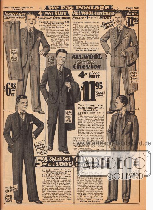Feine Anzüge für 6 bis 17-jährige Jungen und junge Männer. Die Sakkoanzüge sind aus Woll-Kaschmir oder Woll-Cheviot und bestellbar in den Farben Blau-Grau, Hellbraun, Marineblau oder Dunkelbraun. Streifenmuster überwiegen. Nur eines der Sakkos ist doppelreihig, die anderen sind einreihig. Vier Modelle präsentieren steigende Revers, nur eines fallende. Ein Anzug mit doppelreihiger Weste. In der Mitte ein vierteiliger Anzug bestehend aus Sakko, Weste und zwei Wechselhosen für insgesamt 11,95 Dollar.