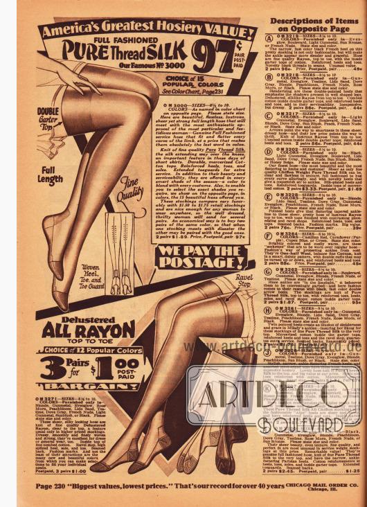 Ein Paar Damenstrümpfe aus reiner Seide für 97 Cent (oben) oder wahlweise drei Paare aus Rayon für einen Dollar (unten). Rechts befinden sich die Beschreibungen der Artikel der folgenden Seite 231.