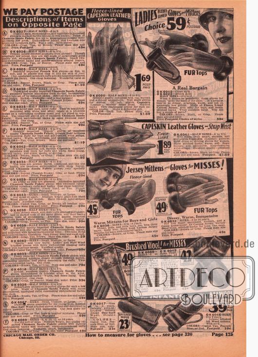 Damen- und Kinderhandschuhe aus Schafsleder, gekämmter Wolle sowie gestrickter Wolle. Ganz unten befinden sich Fäustlinge mit Kordel für kleine Kinder. Links sind die Beschreibungen für die Handschuhe der vorangegangenen Seite zu finden.