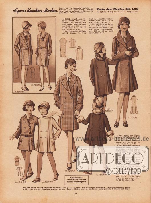 5561/62: Ensemble aus rötlichem Tweed mit Faltengruppen, für Mädchen von 8 bis 12 Jahren. 5563: Passenmantel aus Wollstoff für Mädchen von 4 bis 8 Jahren. Ledergürtel. 5564: Mäntelchen aus hellem Tuch mit Faltengruppen und Kragenschal, für Mädchen von 4 bis 8 Jahren. 5565: Mantel aus blauem, gemustertem Wollstoff, für Mädchen von 10 bis 14 Jahren; eingesetzte Taschen. 5566: Mäntelchen aus grünem Wollstoff mit hellem Pelzbesatz, für Mädchen von 2 bis 6 Jahren. Schnitt für 2 bis 4 Jahre 40 Pf., für 4 bis 6 Jahre 75 Pf. 5567: Wintermantel aus blauem Velours de laine mit grauem Krimmerbesatz und abgesteppten Falten, für Mädchen 6 bis 10 Jahren. 5568: Flotter Wintermantel aus Wollstoff mit glockigen Seitenbahnen, für Mädchen von 12 bis 16 Jahren. Schnitt für 12 bis 14 Jahre 75 Pf., für 14 bis 16 Jahre 1 Mk.
