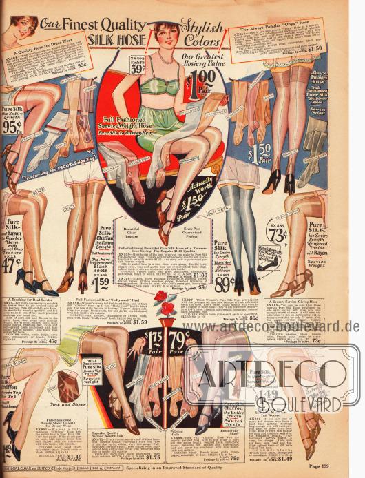 """Seite mit einfarbigen und hellen Damenstrümpfen aus reinen Seiden, Seiden-Chiffon und Rayon. Die Farben der Strümpfe tragen so klangvolle Namen wie """"French nude"""", """"moonlight"""", """"pearl blush"""" oder """"Paris grey"""". Siehe hierzu auch die Erklärung der Farbnuancen auf Seite 5."""