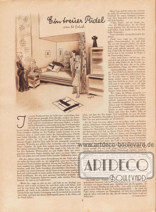 Artikel: Erich, H., Ein treuer Pudel (von H. Erich).  Illustration/Zeichnung: Hans Kossatz (1901-1985).